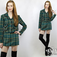 Matching Set Two Piece Set Two Piece Outfit Separates Crop Top High Waisted Skirt Vintage 90s Green Plaid Cropped Jacket + Skirt Outfit S