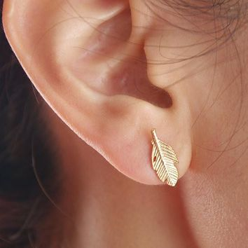 Accessory Simple Metal Leaf Feather Earrings [11312713428]