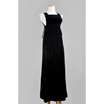 60s Black Velvet Evening Gown / 1960s Mindy Malone Boho Pinafore Maxi Dress with Bows / Small to Medium