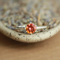 Autumn-Colored Anastasia Topaz Solitaire in Sterling Silver Vintage-style Tiffany Mounting