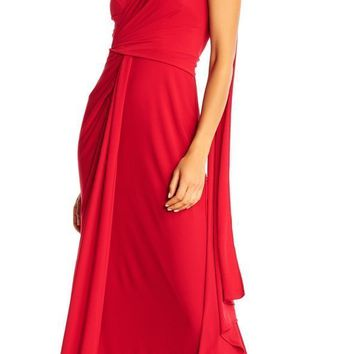 Adrianna Papell - AP1E202251 Gathered Bodice Draped Jersey Gown