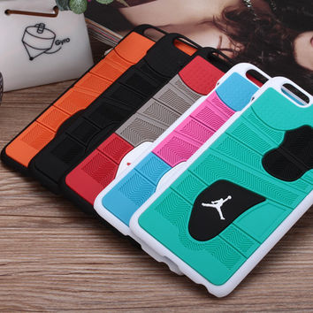 Hot Jordan 3D sneakers Phone Case Basketball Jordan sneakers Sole PVC Rubber Cover For iPhone 6 4.7' free shipping
