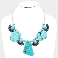 ABSTRACT TURQUOISE VINTAGE NAVAJO BIB NECKLACE