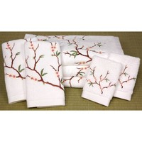 Oriental Furniture TWL-CBLSS-WHT Cherry Blossom White Seven-Piece Bath Towel Set