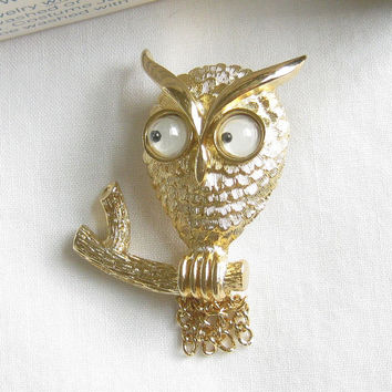 Vintage Google or Googly Eyed Wise Guy Owl Pin or Brooch, signed AVON