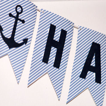 Happy Birthday Banner / Anchors / Blue Birthday Banner / Boys Birthday Party