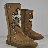 Montana West Brown Winter Suede Boots Shoes with Jeweled Design Size 6-10