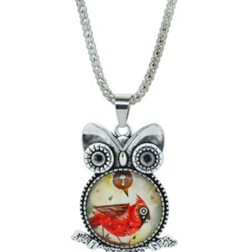 Cardinal Owl bird pendant necklace in Jewelry Vintage Sterling Silver