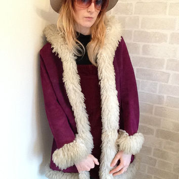 1970's Afghan/ Penny Lane Suede Hooded Coat