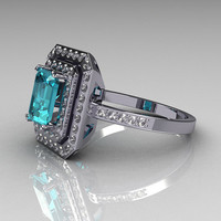 14K White Gold 1.0 CT Emerald Cut Aquamarine Round Pave CZ Classic Double Halo Ring R83-14WGCZAQ
