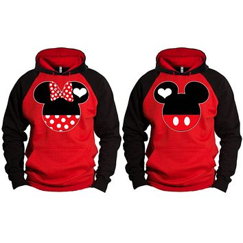 Mickey Minnie Couple Matching Love Set 2 tone Hoodie