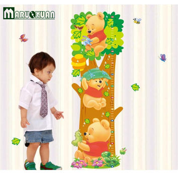 Cartoon Winnie the Pooh Animal Measurement of height DIY Wall Stickers Nursery Kids Room Home Decor Mural Decal