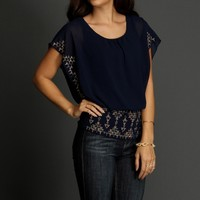 Promo-navy Beaded Banded Top