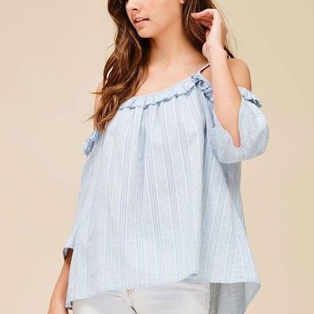 light blue cold shoulder top, wholesale clothing by Colorado Chick (see website for details) dainty women's blouse