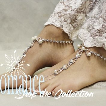 Wedding and bridal beach wedding Barefoot Sandals, barefoot sandals, foot jewelry, slave sandals, footles sandles,