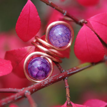 Nature Inspired Copper Ear Cuff with Purple Amethyst Beads, Tribal BOHO Earthy Earrings Hypoallergenic Gift, Copper Jewelry, Purple Ear Cuff