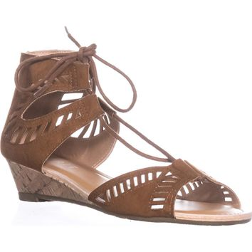 ESPRIT Carol Lace Up Wedge Sandals, Cognac, 7 US