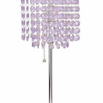 Chandelier Metal Designed Table Lamp, Light Purple & Silver, Set Of 2