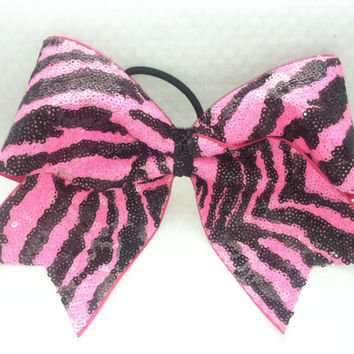 "3"", 3 inch cheer cheerleader bow- Neon Pink Zebra Sequins- Team Bows"