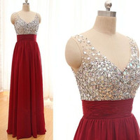 Homecoming Dress,Crystals Beading Straps Red Chiffon Long Prom Dress