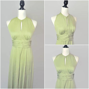 Vintage Palazzo Jumpsuit Halter Romper Miss Elliette Playsuit 60s 70s Keyhole Gathered Maxi Small XS Bell Bottom Cocktail One Piece Green