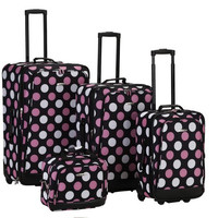 4Pc Mulpinkdot Luggage Set