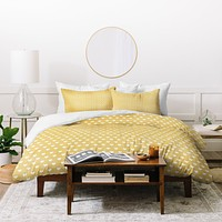 Allyson Johnson Dainty Yellow Hearts Duvet Cover