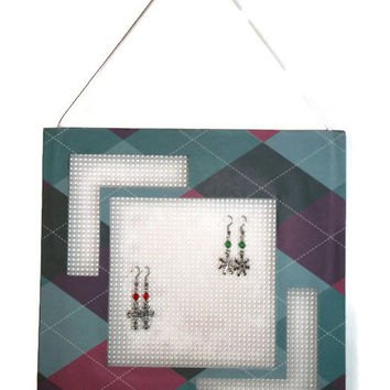 Hanging Earring Tree, Jewelry Organizer, Frame Earring Holder, Argyle Plaid, Teal Plum Pink Navy, Geometric Trends, Upcycled Frame