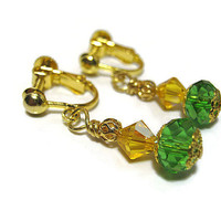 Yellow Green Drop Dangle Clip on Earrings Gold Plated Adjustable Screw Back Made with Faceted Glass and Swarovski Bicones Summer Jewelry