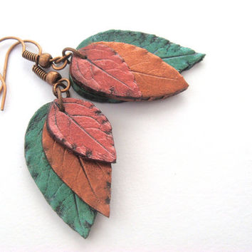 Leaf Earrings  Red Copper and Green  Polymer Clay by JustClayin