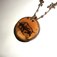Taurus Bull pendant necklace - Natural wood jewelry pendants - Animals charm - Inspirational gift - Double side decorated wood pendant. Wood
