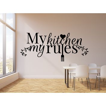 Vinyl Wall Decal Housewife Quote My Kitchen My Rules Fork Heart Stickers Mural (g1076)