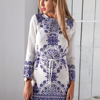 White Long Sleeve Porcelain Print with Long Back Mini Dress