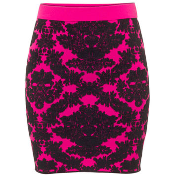 Brocade Knit Skirt Pink