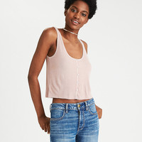 AEO Button Scoop Tank, Pink