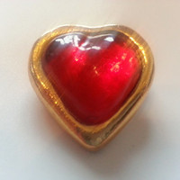 YSL Yves St Laurent Vintage Dome Robert Goossens Heart Shape Red Glass Goldtone Pin Brooch from 1980's