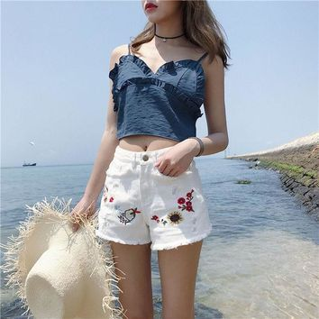 ESBOND High Waist Embroidered Denim Shorts