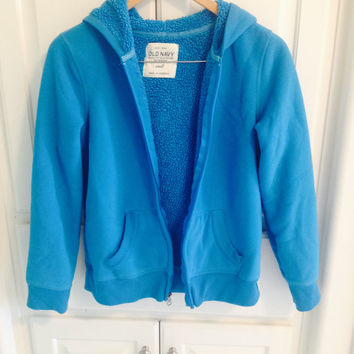 Cerulean Blue Sherpa Sweater with Zipper and Hood