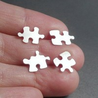 sterling silver jigsaw puzzle ear studs 1 pair by huiyitan on Etsy