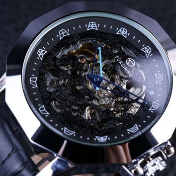 Forsining GMT879 Blue Pointer Dragon Element Irregular Shape Mens Luxury Automatic Skeleton Watch