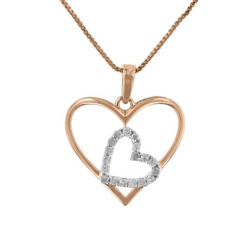 Two Tone Sterling Silver 0.25ct TDW Round Diamond Double Heart Pendant Necklace (I-J,I3)