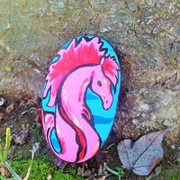 Waterhorse Seahorse Water dragon Sea dragon Rock Painting Painted Rock Stone Art fine art Ooak Nymphish