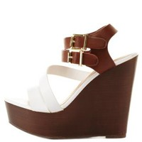 Bamboo Strappy Color Block Platform Wedges by Charlotte Russe