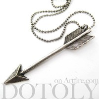 Miniature Arrowhead Arrow Feather Charm Necklace in Silver