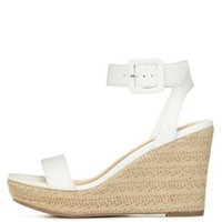 White Ankle Strap Espadrille Wedge Sandals by Charlotte Russe