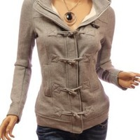 Patty Women Casual Hooded Zip Toggle Closure Jacket (Grey Large)