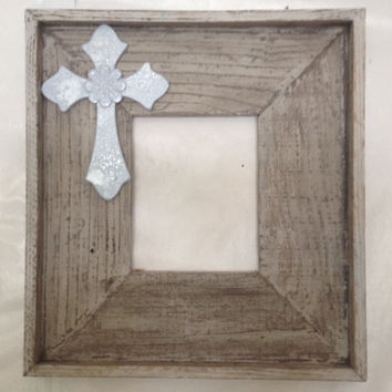 Gorgeous handmade whitewashed distressed barn wood 8x10 picture frame with pale blue wooden cross.