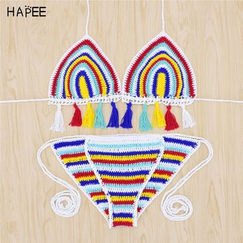 2017 Halter Tassel Women Rainbow Bathing Suits Knitted Bikini Crochet Crop Top Sexy Knitted Swimsuit Hollow Out Crochet Swimwear