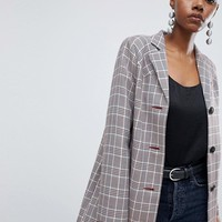 ASOS DESIGN Check Formal Coat With Western Stitching at asos.com