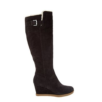 Isaac Mizrahi Women's Dark Brown Suede Wedge Tall Boots With Faux Fur